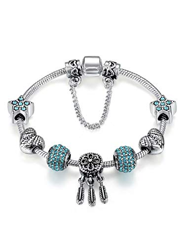 Presentski 925 Sterling Silver Plated Snake Chain Charm Beaded Star Bracelet for Women with Snowflake Pumpkin Car Star Charms -