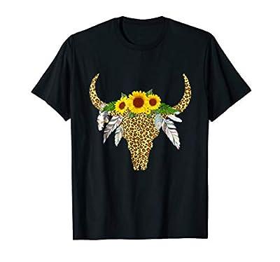 Cow Bull Skull Sunflower t-shirt. Gift for women and girls