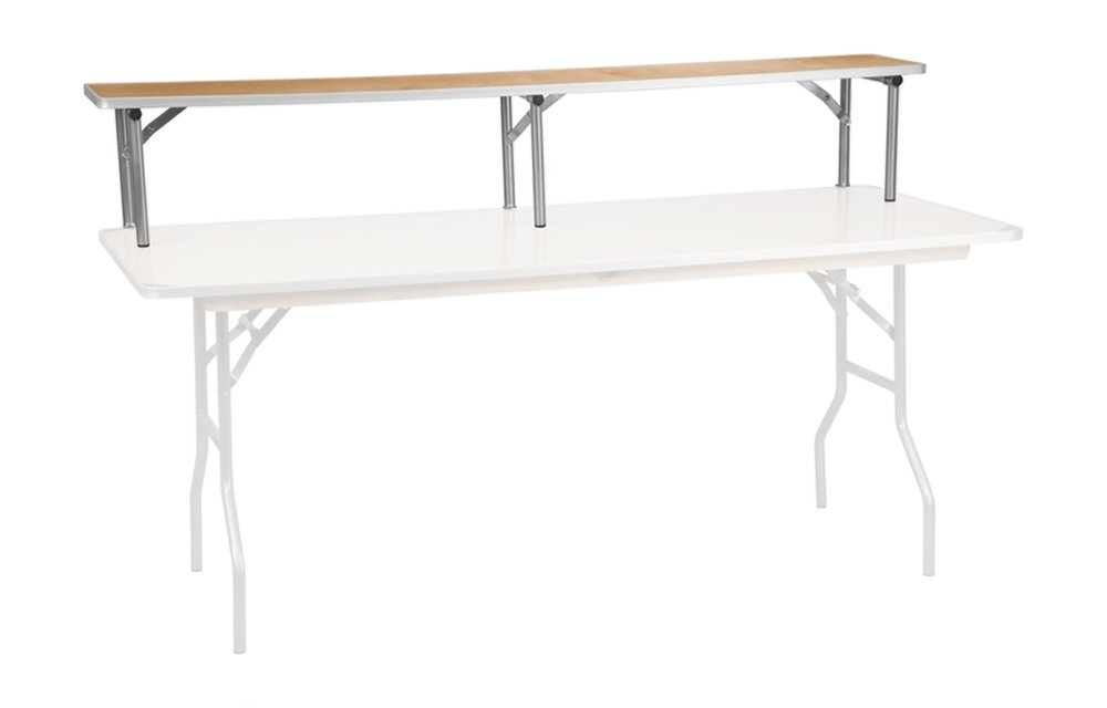 Offex 72'' x 12'' x 12'' Birchwood Bar Top Riser with Silver Legs by Offex