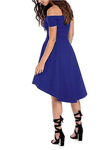 Off Casual Sleeves Milan Style Low with Women's Shoulder High Cocktail Blue Dress Party Short 7rngtRr
