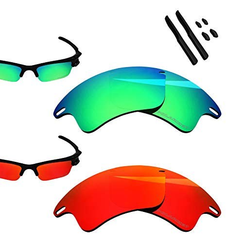 - BlazerBuck Anti-salt Polarized Replacement Lenses for Oakley Fast Jacket XL - Fire Red & Emerald Green