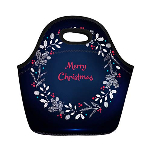 Semtomn Neoprene Lunch Tote Bag Blue Christmas Wreath Branches Spruce Cones and Berries Green Reusable Cooler Bags Insulated Thermal Picnic Handbag for Travel,School,Outdoors,Work