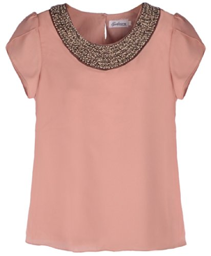 Quality Embellished Bead Collar Ruffle Shoulder Tops T-Shirts Blouse, Pink 10P