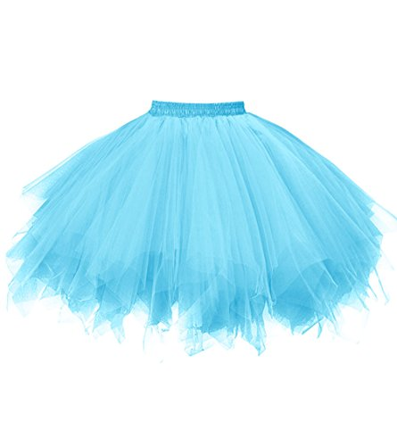 Dresstore Women's Short Vintage Petticoat Skirt Ballet Bubble Tutu Multi-colored Blue ()
