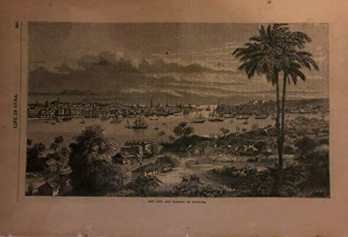 1871 Vintage Magazine Illustration City and Harbor of Havana Cuba