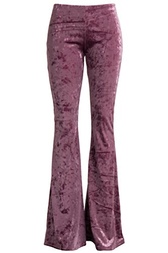 Velvet Bell Bottom Pants (Fashionomics Womens Boho Comfy Stretchy Bell Bottom Flare Pants (L, Velvet Lavender))