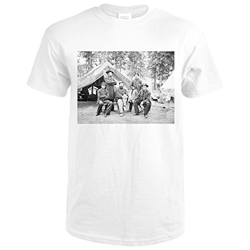 Fair Oaks, VA - Gen. Caldwell and Staff Civil War Photograph (Premium White T-Shirt - Oaks Va Fair