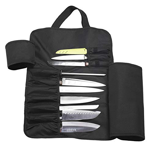 ThinkTop Chef's Knife Roll Bag, Total 13 Slots Multi-Function 2-Layer Knife Carrier Holder with Shoulder Strap, Holds 7 Knives, 6 Pockets for Tasting Spoons, a Plus Mesh Pouch for Tools
