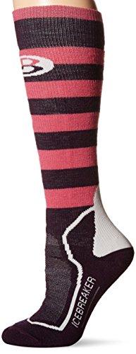 Icebreaker Women's Sb+ Medium OTC Socks, Bordeaux Heather/Shocking/White, Small