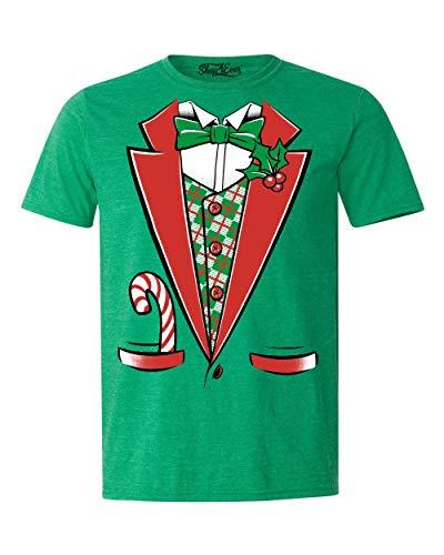 Shop4Ever Tuxedo Christmas Costume T-Shirt Xmas Shirts Medium Heather Irish Green0 ()