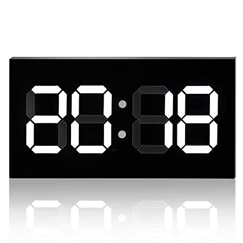 - Digital LED Wall Clock 3D, 14'' Led Double-Sided Convex Word Digital Alarm Clock, High-Definition Multi-Function Wall-Mounted Desktop Creative Stereo Clock,White