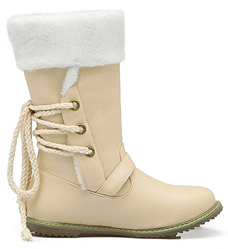 Buckled Back Toe up Women's Fleece Beige Lace Summerwhisper Round Flats Snow Lined Boots Stylish Calf Mid Strap Ex8pInpRqT