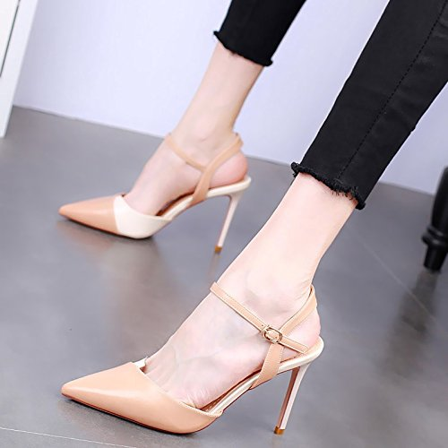 Matching Heel Heels Fashion Word Sharp yellow 10Cm Summer Single Buckle Color Shoe Sexy Sandals Small And Thin In Female One KPHY Shoes High Fresh PO8pHwZxq