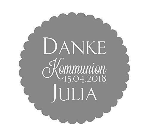 24 Aufkleber Etiketten Selbstklebend Danke Kommunion Konfirmation Taufe