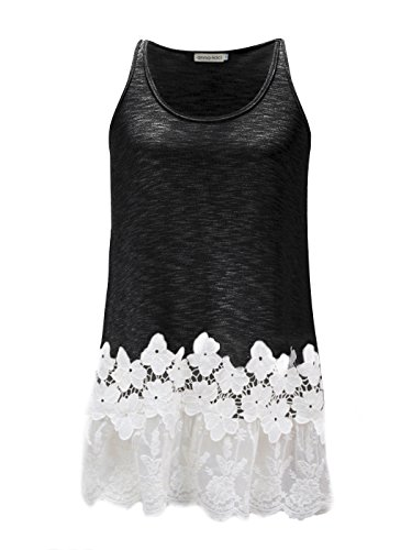 Anna-Kaci Womens Casual Flowy Fit Long Tunic Tank Top with Lace Trim, Black, Medium
