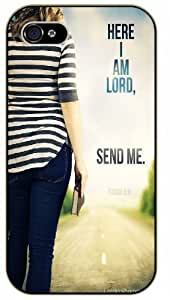 Here I am Lord, send me - Girl with bible in hand facing road - Bible verse iPhone 4/ 4s black plastic case / Christian Verses