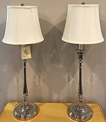 Ralph Lauren Candlestick Table Lamp Polished Silver Chrome