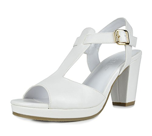 (TOETOS DIANE-05 New Women's T-Strap Open Toes Mid Chunky Heels Platform Dress Sandals White Size 5.5)