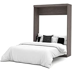 Bestar Nebula Queen Wall Bed in Bark Grey and White