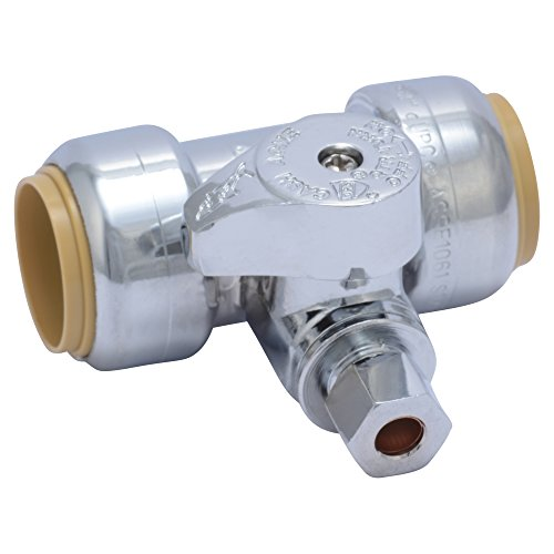vice Tee Stop Valve, 3/4 inch x 3/4 inch x 1/4 inch, Quarter Turn, Compression Service Stop Fitting, Water Valve Shut Off, Push-to-Connect, PEX, Copper, CPVC, PE-RT ()