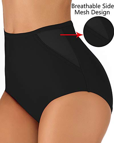 1f6a35c95f YOSUNL Women's Hig Waist Bikini Bottom Side Mesh Deisgn Bikini Bottoms  Swimsuit Swimware Panty Bottoms Black S