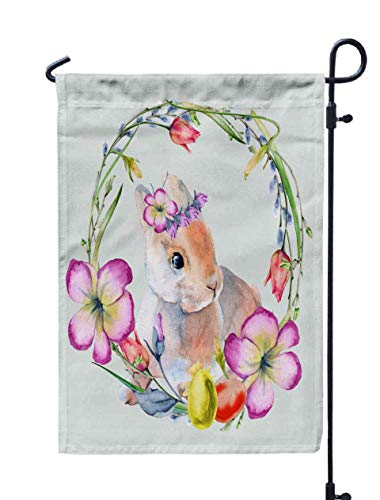 Shorping Welcome Garden Flag, 12x18Inch Easter Wreath Flowers Twigs Eggs Rabbit Isolated Background Watercolor for Holiday and Seasonal Double-Sided Printing Yards Flags