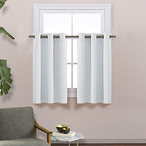 NICETOWN Greyish White Room Darkening Valances   Energy Efficient Kitchen  Grommet Top Curtain Panels For Short Window (2 Pack, W42 X L36 Inch, ...