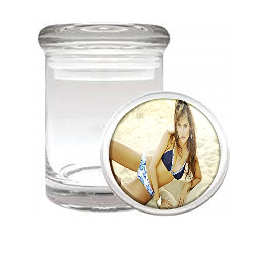 """Medical Glass Stash Jar Beach Babes Pin Up Girl S3 Air Tight Lid 3"""" x 2"""" Small Storage Herbs & Spices"""