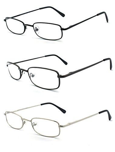 EYE-ZOOM 3 Pairs Classic Spring Hinged Rectangular Reading Glasses for Men and Women, Black, Gunmetal and Silver, 1.25 Strength ()