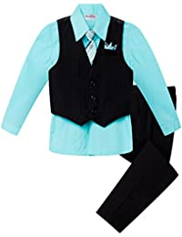 Baby and Big Boy's 4 Piece Pinstripe Vest Suit Set (Size S To 20)