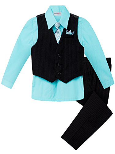 OLIVIA KOO Boys Colored Shirt Pinstripe 4 Piece Pinstriped Vest Set Size Infant-Boy,Aqua,4T