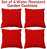 water resistant cushions, set of 4 garden cushions, 4 funky outdoor cushions perfect for indoors or outdoors (RED)