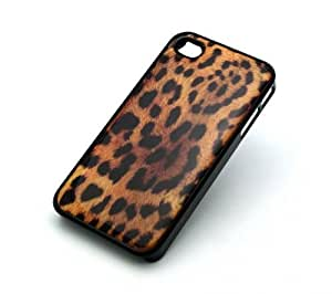 BLACK Snap On Case IPHONE 4 4S Plastic Cover - CHEETAH PRINT leopard animal tiger cross cougar lion