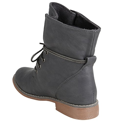 Brito Heel worker Boots Ladies' Block Camouflage Flandell® up 3 9 Sizes Booties look Ankle Leather Boots Lace Grau PwRtEqTRfx