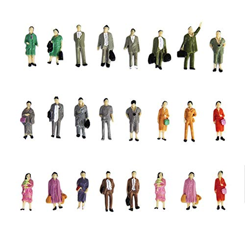 Yapthes 24pcs Painted Model Train Standing Posture People Figures Scale HO (1 to 87) Simulation PeopleToy Mixed Colour Interesting Toy
