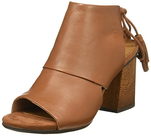 Kenneth Cole REACTION Womens Reach The Stars Peep Toe Flared Heel Lacing-Leather Ankle Bootie Cognac