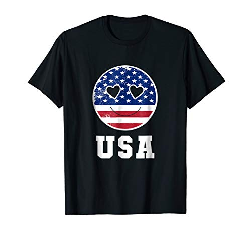 ce Smile Hearts American Flag USA Shirt ()