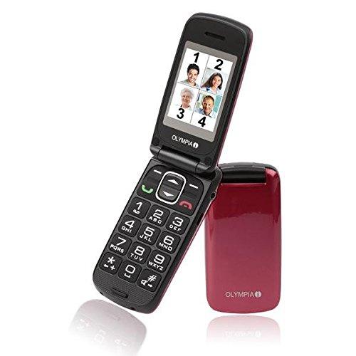 OLYMPIA 2157 Komfort-Mobiltelefon mit Großtasten/Farb-LC-Display Modell Classic mini rot