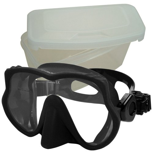 Promate Frameless Scuba Dive Snorkeling Mask, Black; w/box