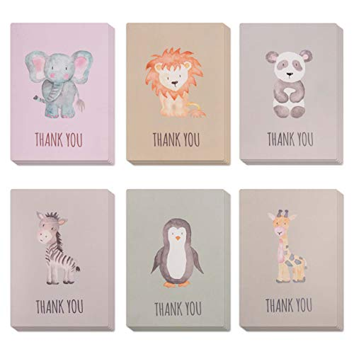 Animal Thank You Cards, Perfect for Kids & Baby Shower. Bulk Set of 30 Small & Cute cards Ideal for any Occasion. Blank on the inside & with Matching green envelopes included.]()