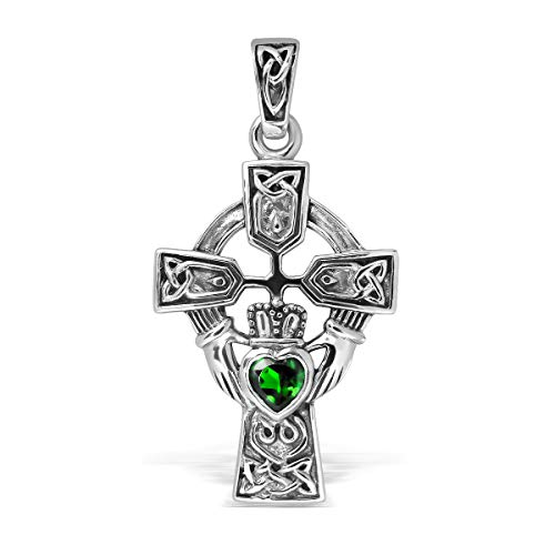 WithLoveSilver Sterling Silver 925 Celtic Cross and Claddagh Heart Pendant (Green Glass)