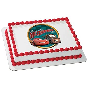 Amazoncom Cars 2 Lightning Mcqueen Edible Cake Topper Decoration