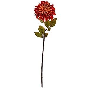"Nearly Natural 2229-S6-OR 28"" Dahlia Flower (Set of 6) Artificial Plant, Orange 68"