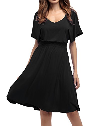 Sarin Mathews Womens Sexy V Neck Cap Sleeve Summer Casual Flared Midi Dress Black L Casual Little Black Dress