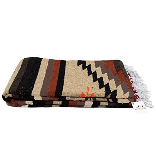 Open Road Goods Aztec Navajo Style Blanket, Throw, or Yoga Bolster - Handwoven Mexican Diamond Blanket - - Blanket Navajo