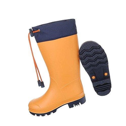 Kinderschuhe Stiefel Mädchen Jungen Regenstiefel Gummi Orange