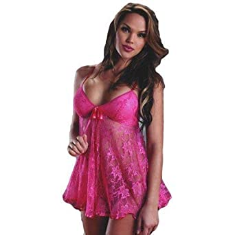a654ae27ed Image Unavailable. Image not available for. Color  Ladies Sexy Blue Black  Pink Green Lace Strappy Babydoll Chemise Nightie Underwear Lingerie Set ...