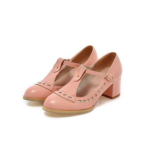 AllhqFashion Damen Weiches Material Schnalle Rund Zehe Mittler Absatz Rein Pumps Schuhe Pink