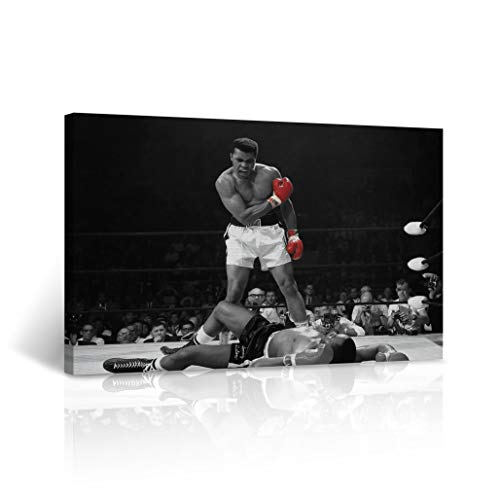 Famous Muhammad Ali vs Sonny Liston Canvas Print Red Gloves in Black and White First Minute, First Round Knockout Most Iconic Picture Wall Art Stretched - Ready to Hang -%100 Made in The USA 8x12