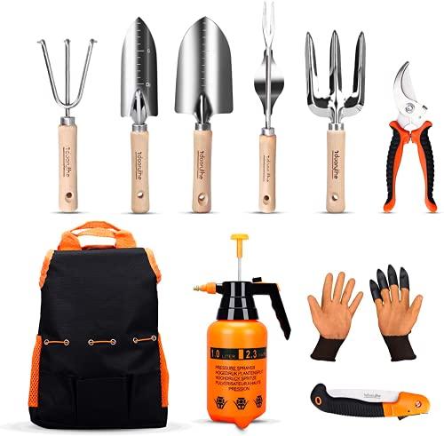 Herramientas de jardín set 10u./ac.inox/pulverizador/guantes